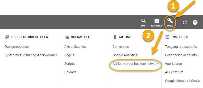"""Instructies voor toegang 'Attributie voor het zoeknetwerk"""" vanuit Google Ads"""