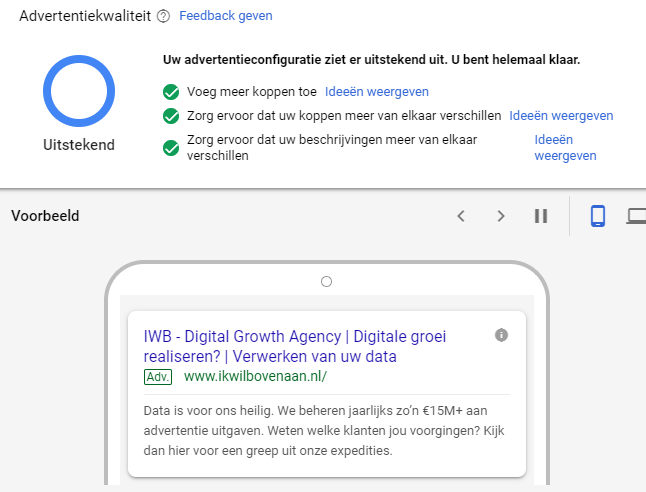 Advertentie configuratie in Google Ads.