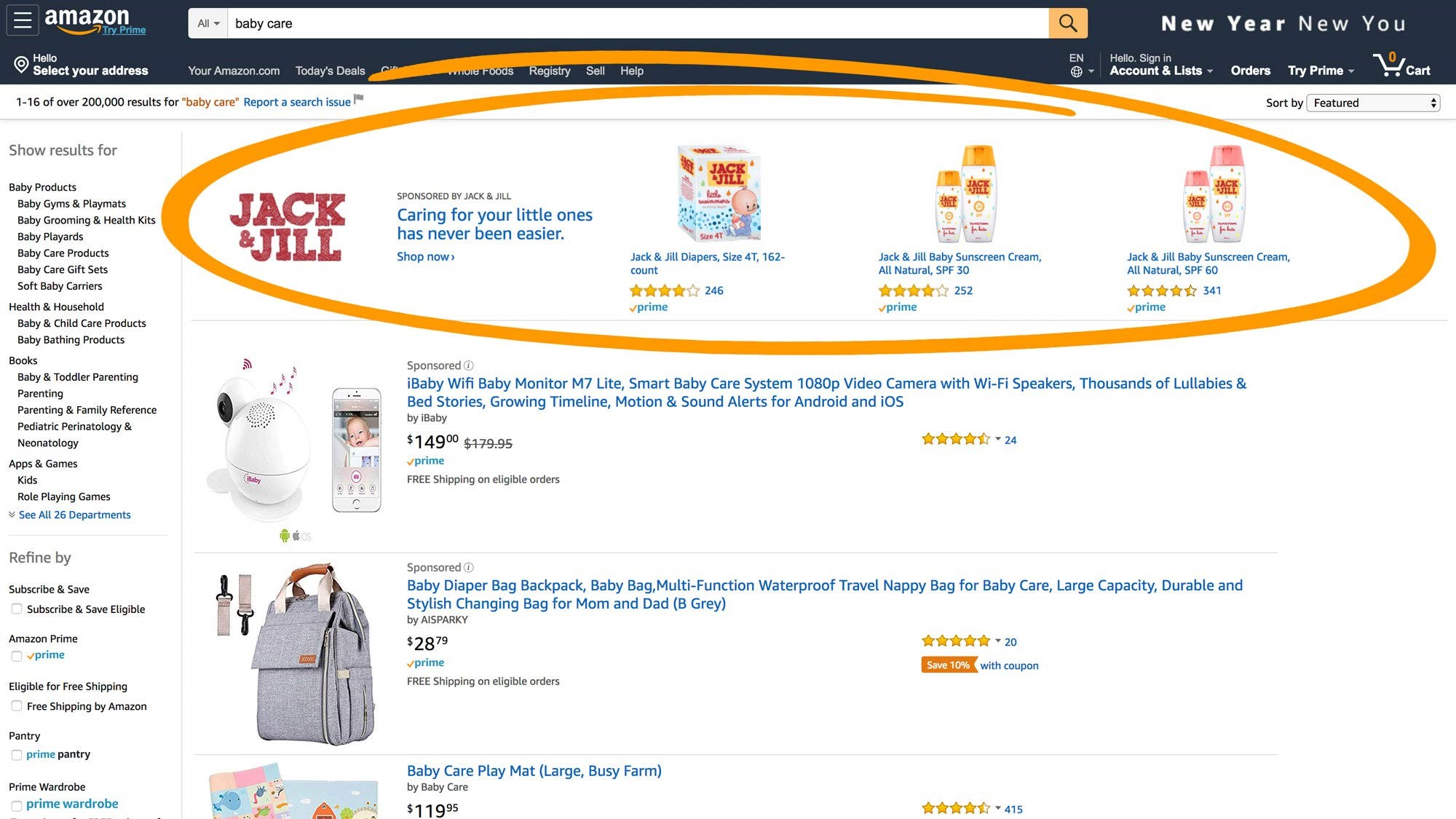 Amazon: sponsored brand